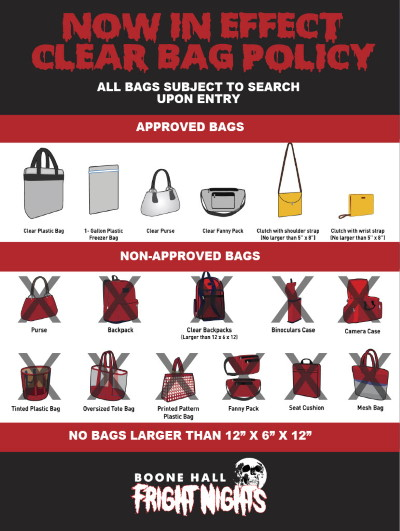 Boone Hall Clear Bag Policy Example Graphic